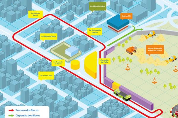 O Carnatal 2012 volta com a estrutura de corredor da folia e camarotes, indicados nas cores roxo e amarelo