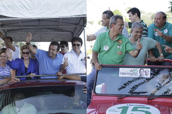 Os candidatos fizeram carreata neste sábado, último dia de campanha para o segundo turno