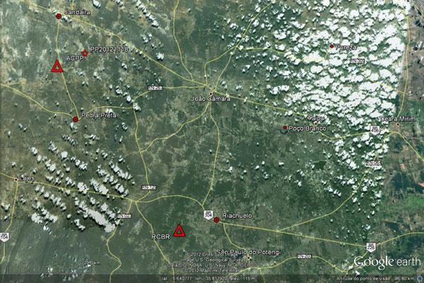 O epicentro do tremor foi registrado no ponto marcado com a estrela vermelha no mapa