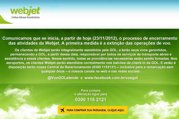 Site da Webjet traz, nesta sexta-feira, a informação sobre o encerramento das atividades da companhia