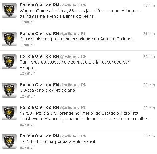 A informação foi divulgada pelo Twitter oficial da Polícia Civil