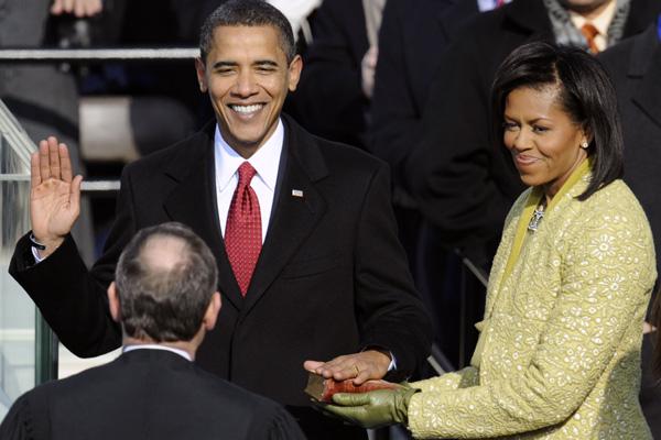 Barack Obama e Michelle, no juramento em janeiro de 2009