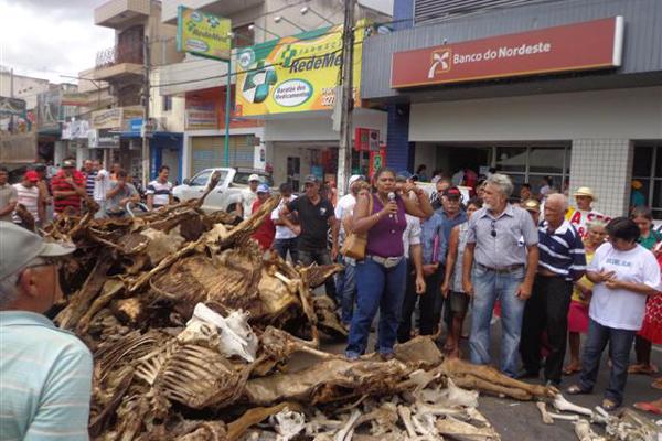 Endividados e reclamando do tratamento recebido, agricultores despejam carcaça de gado em frente à agência BNB de Guarabira