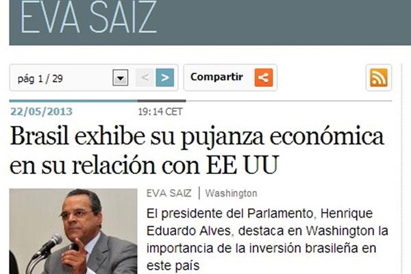 Repercussão da visita de Henrique Alves no jornal El País