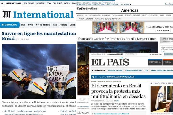 New York Times destacou que protestos começaram em Natal. Le Monde e El País foram alguns dos que destacaram manifestações no Brasil