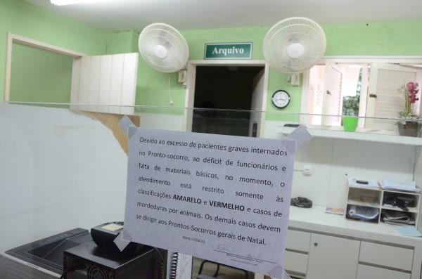 Pronto-socorro do hospital Giselda Trigueiro foi fechado por falta de material básico e déficit de profissionais