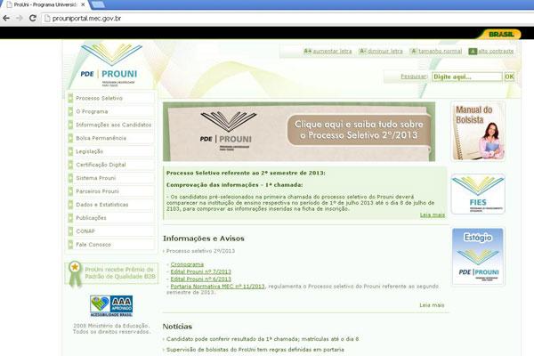 Convocação pode ser consultada na página do ProUni na internet ou pelo número 0800-616161