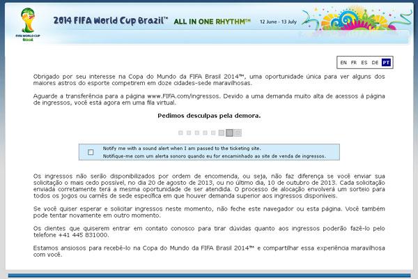 Aviso de erro apareceu no site da Fifa após tentar mudar ingressos da reserva