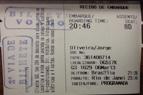 Cartão de embarque confirma que deputado se ausentou antes do início da votação