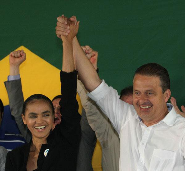 Ex-ministra Marina Silva e o governador de Pernambuco, Eduardo Campos, pré-candidato à Presidência da República