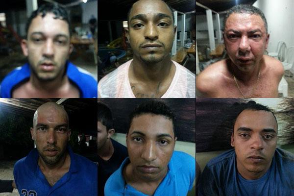 Foram presos(em sentido horário): Marcelo Medeiros(alto, esq.), Hudson Pereira, Edson Olegário, Tiago Fernandes, Maximiliano Nascimento e Jeferson Sousa, além do menor de idade