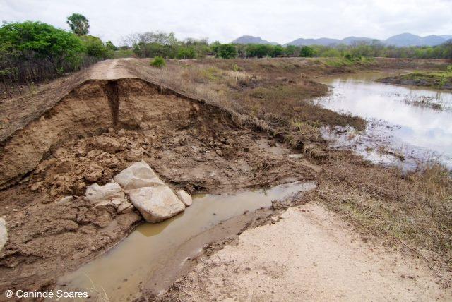 Em Jurucutu, açude sangrou por causa do volume de chuvas