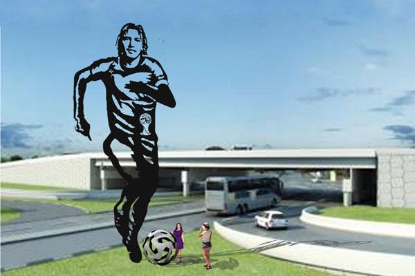 Maquete com silhueta em ferro, de Marinho, foi apresentada na inauguração da Arena das Dunas
