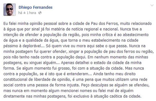 Professor Dhiego Fernandes pediu desculpas pelas postagens e disse que não quis ofender ninguém