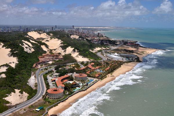 Imagem aérea de Natal: hotéis da cidade terão as diárias mais altas no jogo Uruguai x Itália