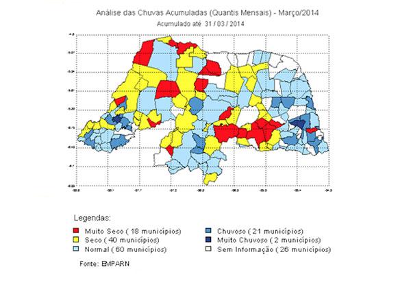 Mapa mostra precipitações acumuladas no mês de março