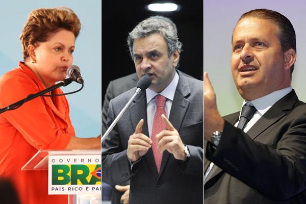 Dilma Rousseff, Aécio Neves e Eduardo Campos são os principais candidatos na disputa presidencial