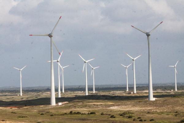 Parque de geração de energia eólica no interior do Rio Grande do Norte: As linhas de transmissão servem para escoar a energia desse e de outros tipos de usina