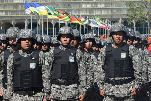 A Força Nacional é uma força de contingência que poderá agir no apoio às forças estaduais e federais quando solicitada