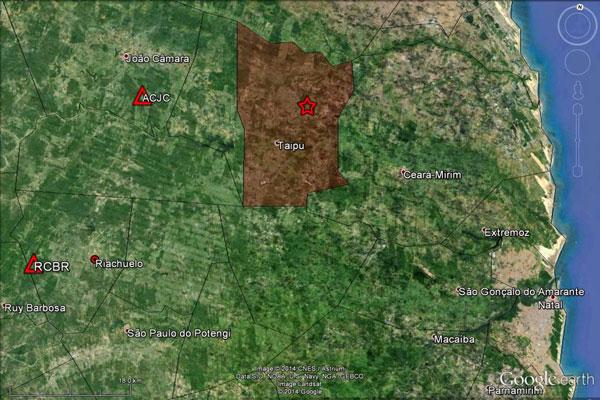 Mapa divulgado pelo LabSis mostra ponto onde ocorreu tremor de terra