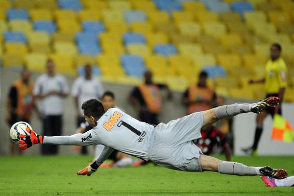 O goleiro Victor, do Atlético/MG, foi um dos destaques da partida e evitou que o time mineiro saísse do Maracanã em pior situação