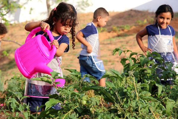 Letícia se diverte com os regadores na horta da escola municipal