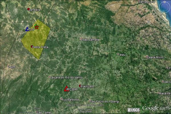 Mapa mostra epicentros dos tremores registrados ontem
