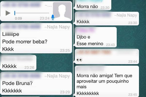 Imagens mostram diálogos entre Najla Napy e amigos através de Whatsapp