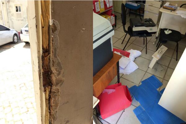 Criminosos arrombaram prédio onde funciona a Delegacia do Idoso, no bairro do Alecrim, na zona Leste de Natal