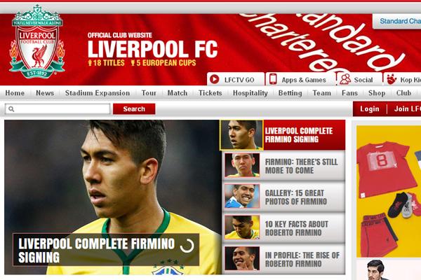 Contratação de Roberto Firmino é destaque no site oficial do Liverpool