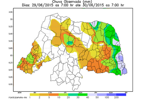 Dados da Emparn mostram monitoramento de chuvas durante fim de semana