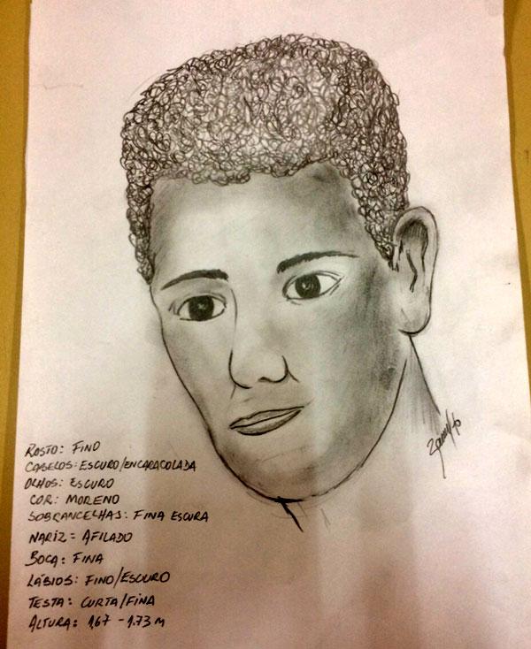 Polícia divulgou retrato falado de um dos suspeitos de participação em estupro coletivo
