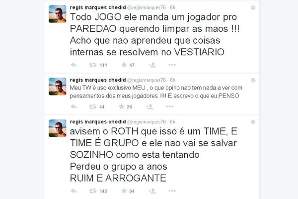 Régis Marques, empresário de Martín Silva, usou o Twitter para expressar sua insatisfação