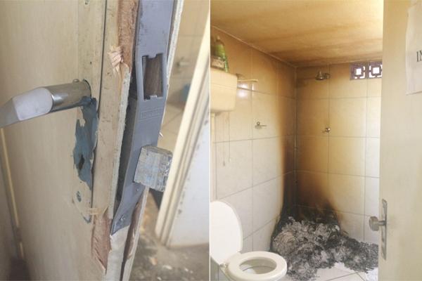 Após arrombarem porta, criminosos queimaram documentos dentro do banheiro da delegacia de Baraúna