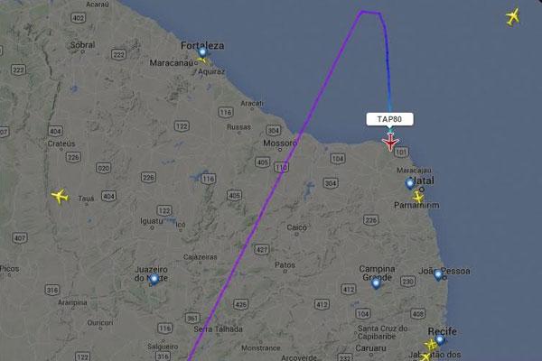 Avião da TAP faz pouso forçado em Natal