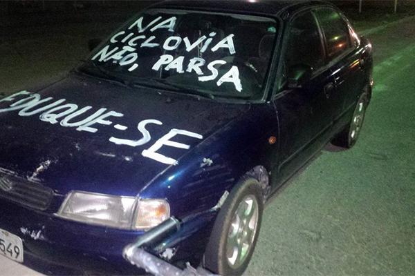 Carros foram pichados na noite desta quinta-feira no setor de aulas I da UFRN