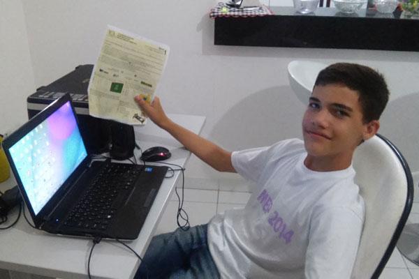 Marlon Natan Baracho é aluno do 7º ano da Escola Municipal Cônego Ambrósio Silva, em Cruzeta (RN)