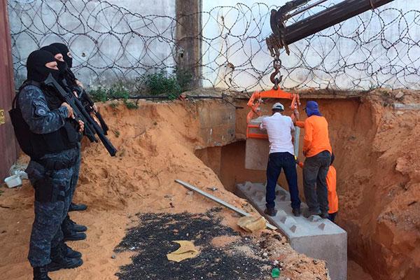 Promotoria destaca os investimentos feitos ao longo dos anos em Alcaçuz e as obras em andamento, como o muro interno de concreto