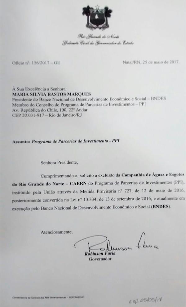 Reprodução de documento enviado pelo governo ao BNDES