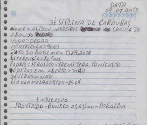 Durante o período de investigação, MP apreendeu cadernos com informações da facção