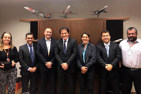 Governador Robinson Faria e o titular do Turismo, Ruy Gaspar, se reuniram com diretor Cláudio Neves Borges, da Gol Linhas Aéreas, e Federico Macio, dono da operadora GIT.