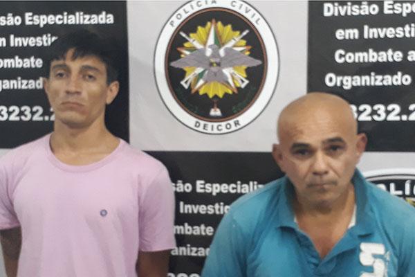 Elinaldo Medeiros dos Santos,52, e Valmir Mendes de Farias, 27, são suspeitos de adulterar 150 veículos roubados