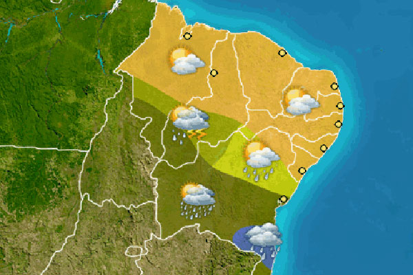 Previsão para o Rio Grande do Norte é de tempo firme e sem chuvas