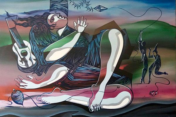 Pinturas inéditas de Jayr Peny são novidade. ''Quintal de Newton'' é uma homenagem a Navarro