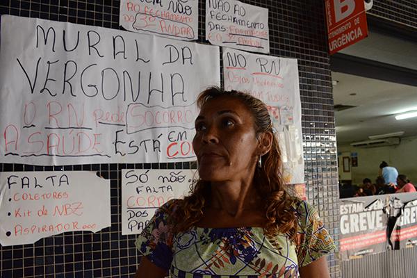 Voluntária da Pastoral da Saúde, Elizabete Darque, aponta falta de insumos básicos no Walfredo