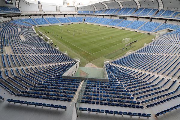A Arena das Dunas, palco de jogos pela Copa do Mundo de 2014 tem recebido públicos diminutos