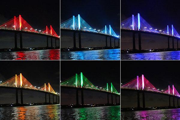 Iluminação da Ponte Newton Navarro foi alterada em alusão à semana LGBT em Natal