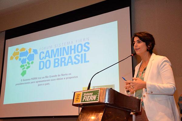 Resultado de imagem para Manuela D'Ávila diz na FIERN