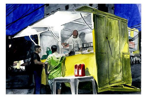 No Sesc, quadrinista Mario Rasec exibe sua técnica em pintura