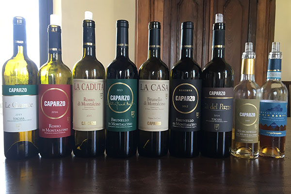 Vinhos degustados pela confraria na visita a Cantina Carpazo